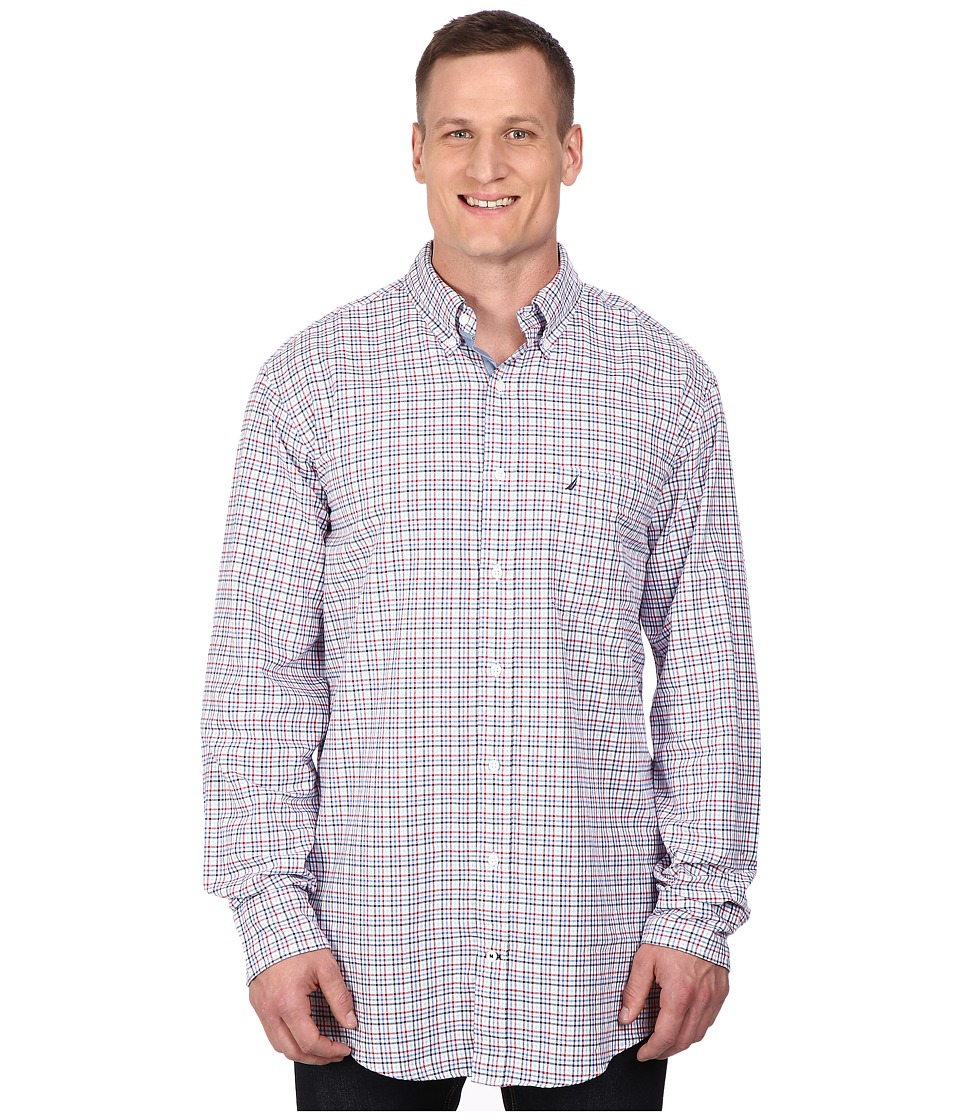 Nautica Big amp Tall Big Tall Long Sleeve Oxford Tattersall Nautica Red Mens Clothing