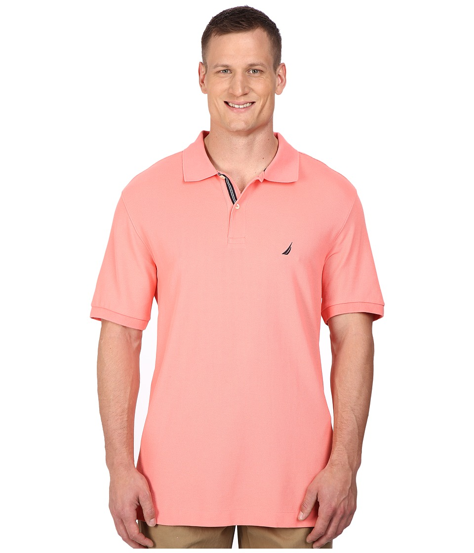 Nautica Big amp Tall Big Tall Short Sleeve Solid Deck Polo Pale Coral Mens Short Sleeve Pullover