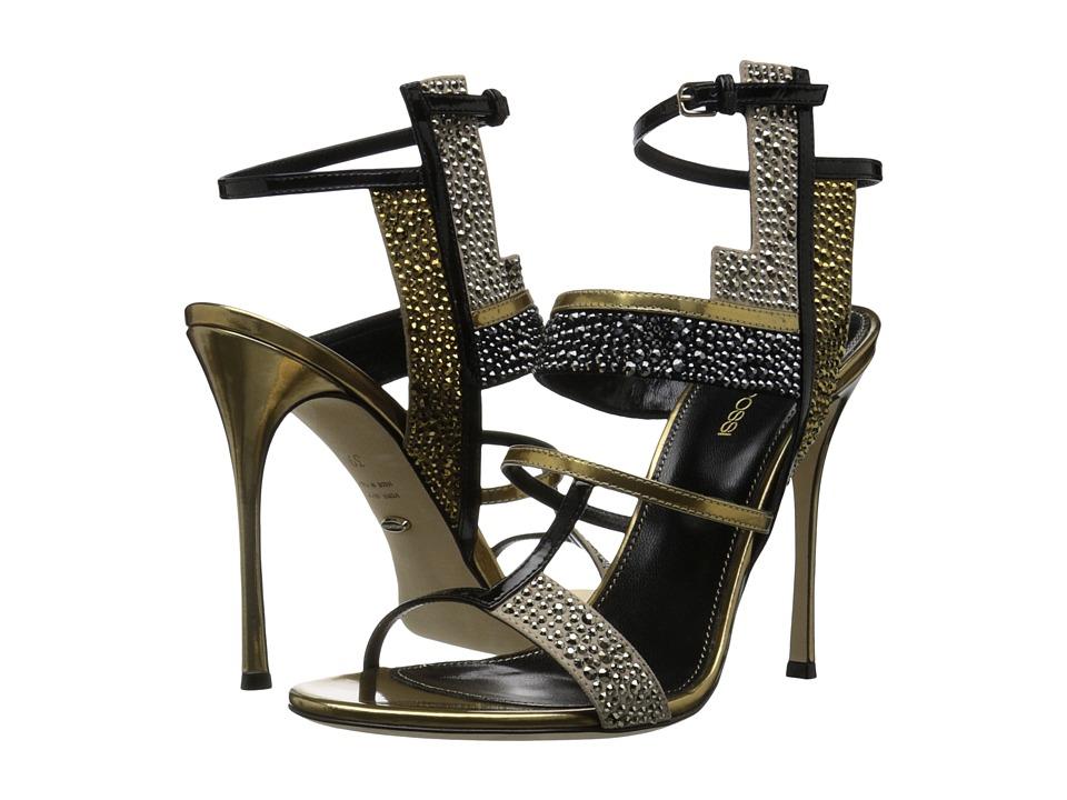 Sergio Rossi Tamara (Bright Gold Specchio/Patent/Strass) High Heels