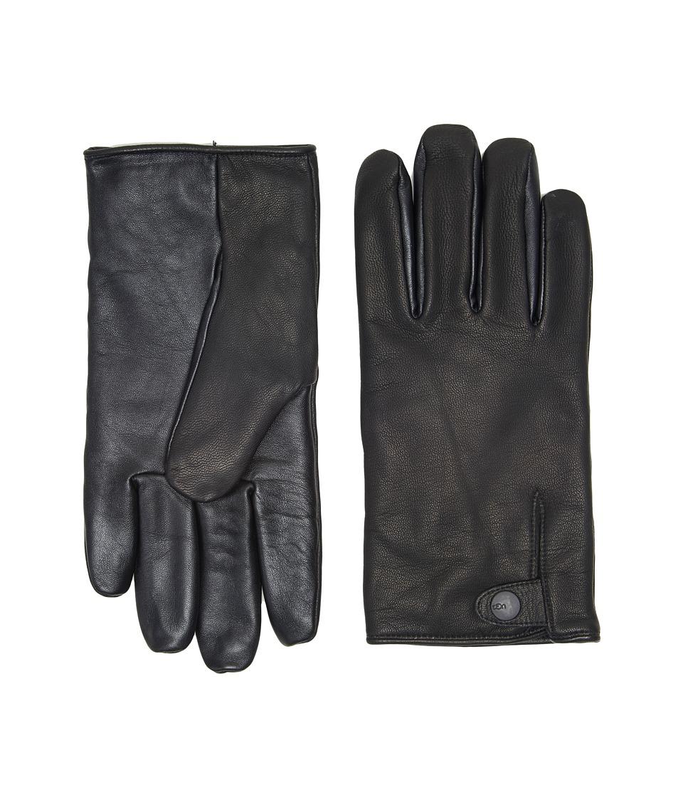 UGG Leather Smart Gloves Snap Detail (Black) Extreme Cold Weather Gloves