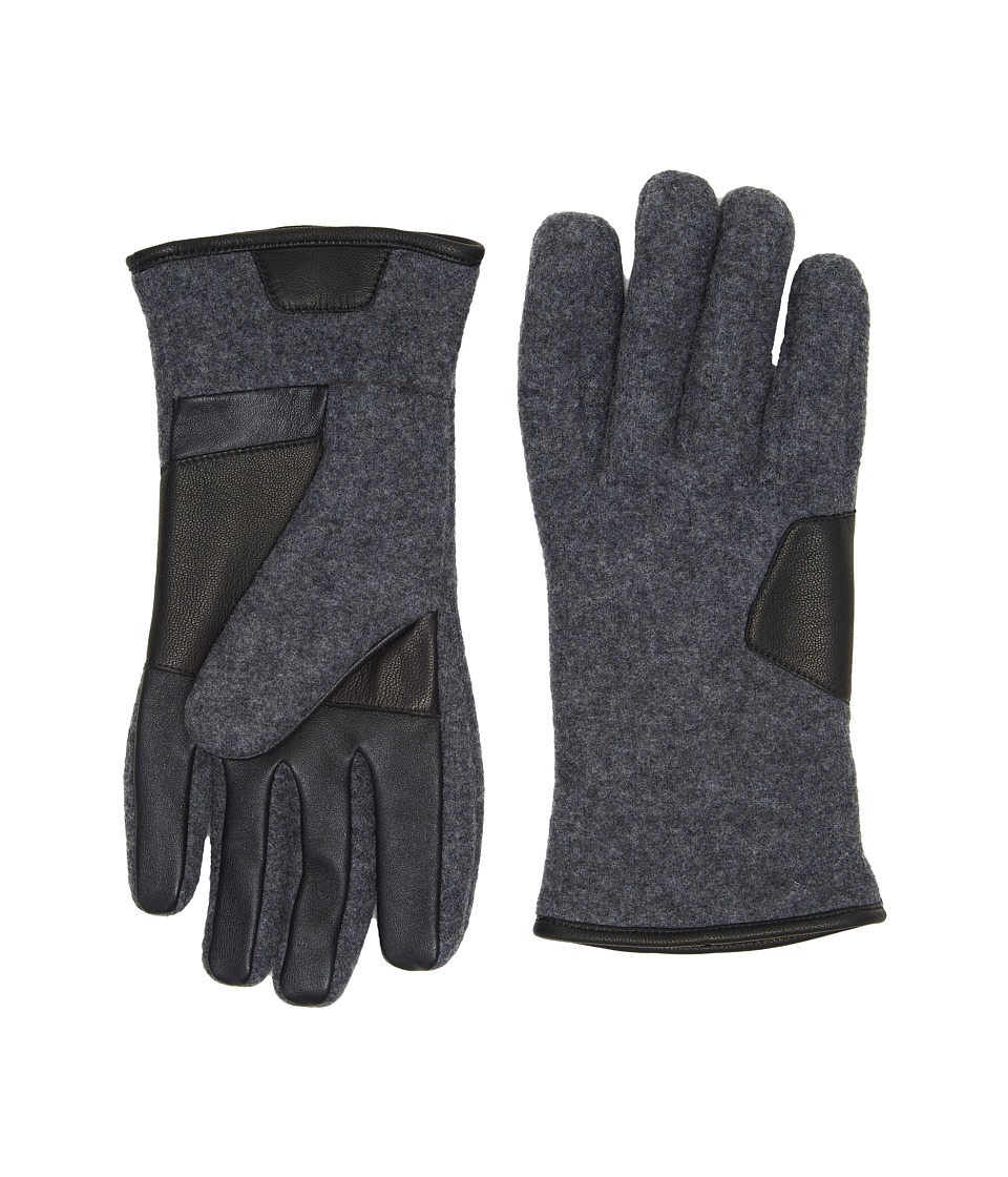 UGG Fabric Smart Gloves w/ Leather Trim (Charcoal) Extreme Cold Weather Gloves