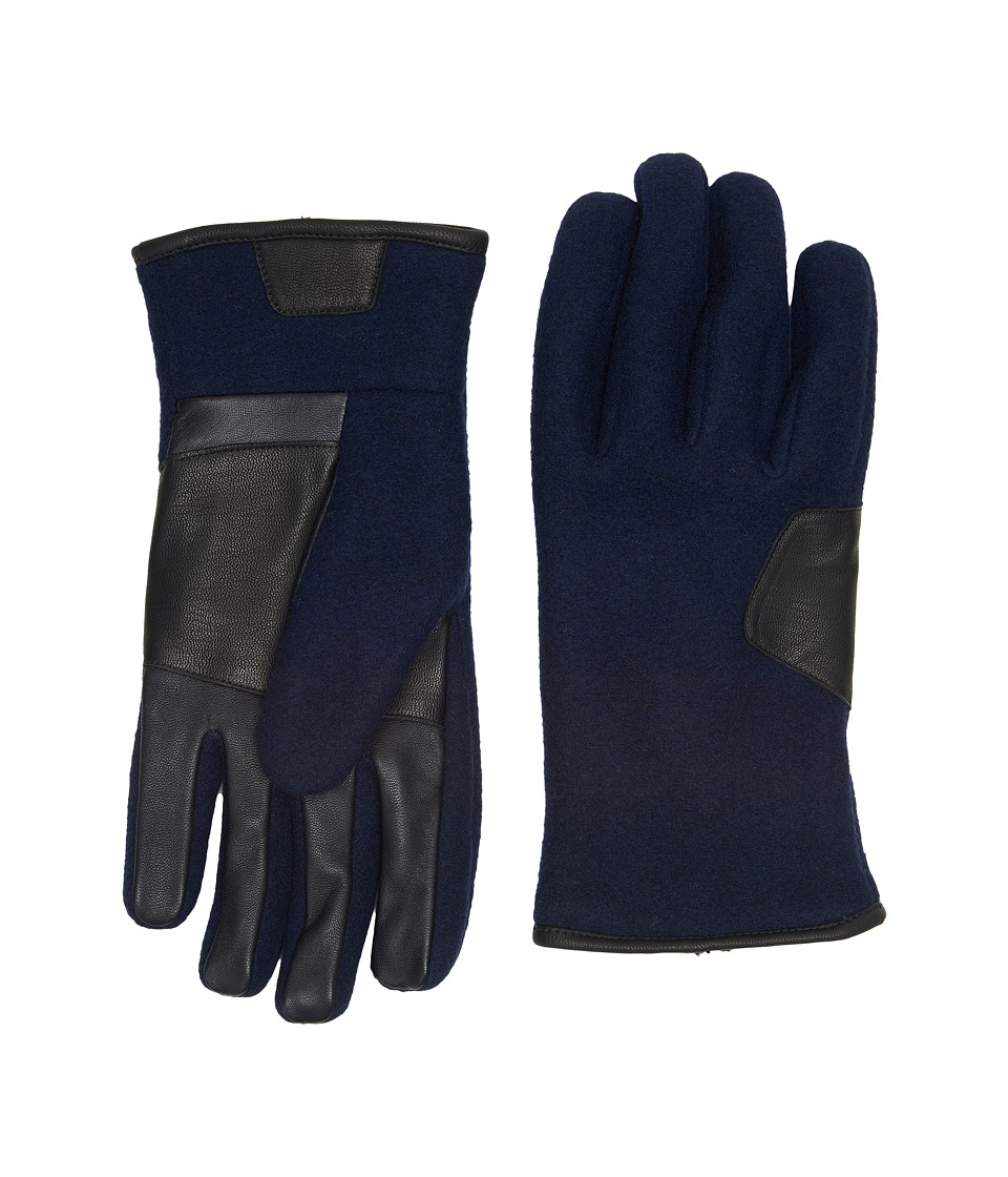 UGG Fabric Smart Gloves w/ Leather Trim (Navy) Extreme Cold Weather Gloves