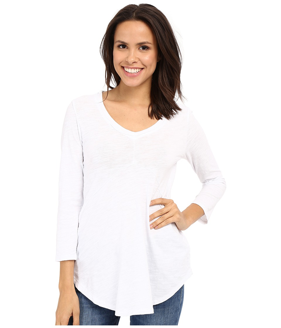 Mod-o-doc - Slub Jersey 3/4 Sleeve V-Neck Tunic (White) Womens Blouse