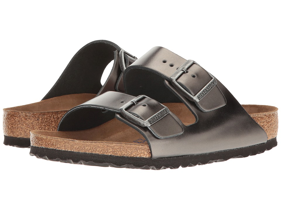 Birkenstock Arizona Soft Footbed (Metallic Anthracite Lea...