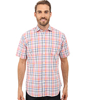 Thomas Dean & Co. - Short Sleeve Woven Poplin Plaid w/ Texture