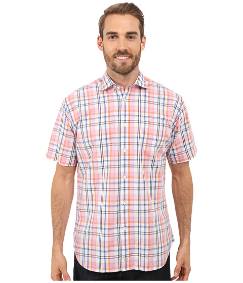 Thomas Dean Co Short Sleeve Woven Poplin Plaid W