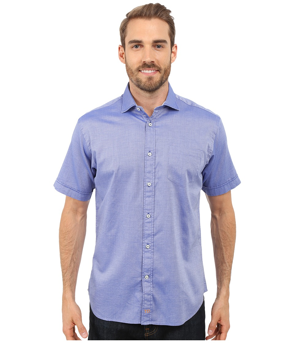 Thomas Dean amp Co. Short Sleeve Woven Polished Dobby Blue Mens Short Sleeve Button Up