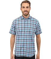 Thomas Dean & Co. - Short Sleeve Woven Twill-Finish Plaid
