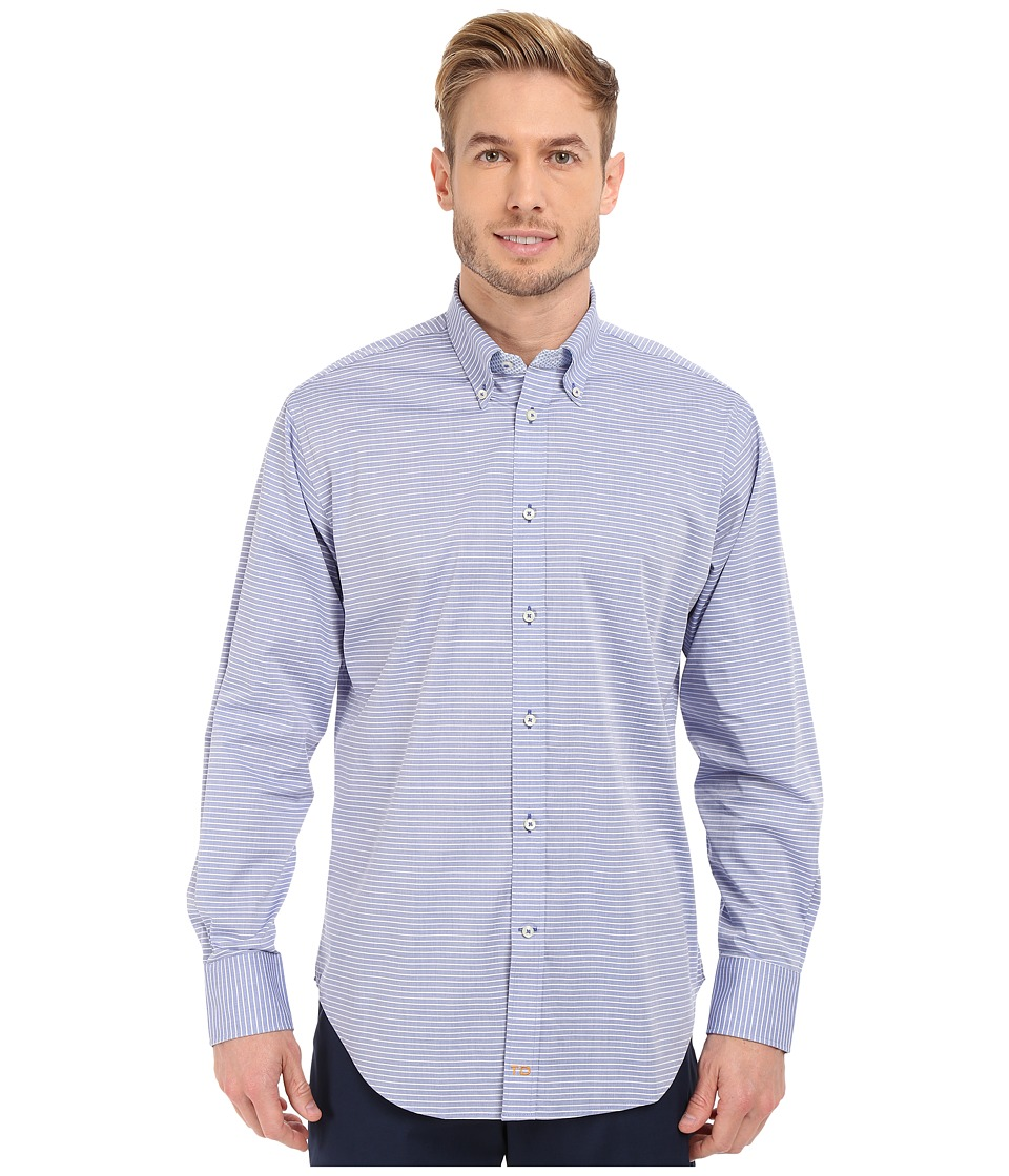 Thomas Dean amp Co. Long Sleeve Woven Chambray Horizontal Stripe Blue Mens Long Sleeve Button Up