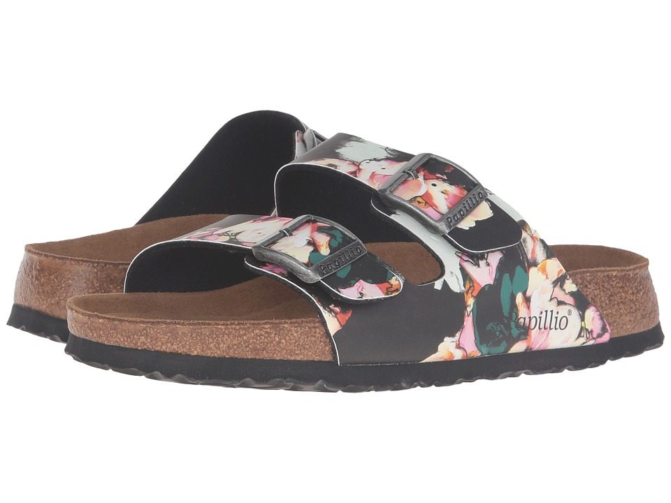 Birkenstock Arizona Soft Footbed (Painted Bloom Black Birko-Flor) Women