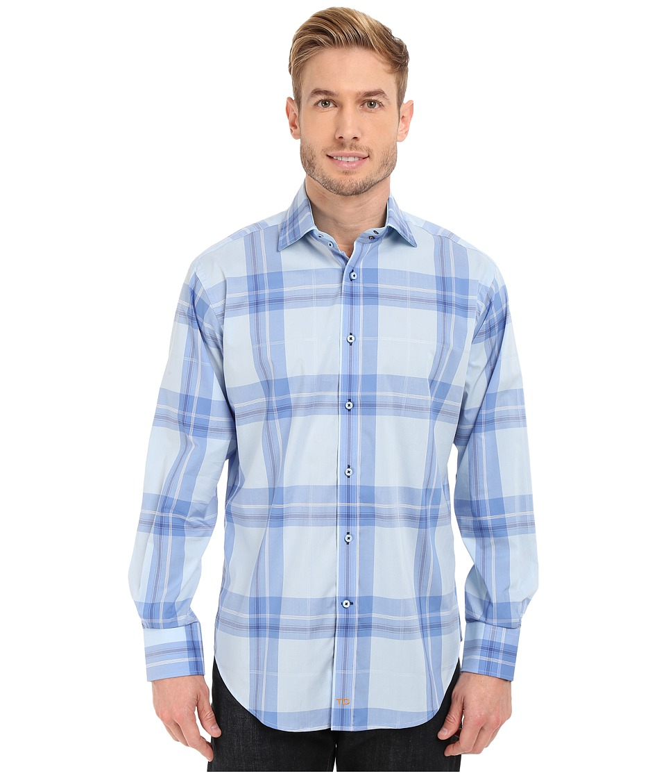 Thomas Dean amp Co. Long Sleeve Woven Spaced Windowpane Blue Mens Long Sleeve Button Up