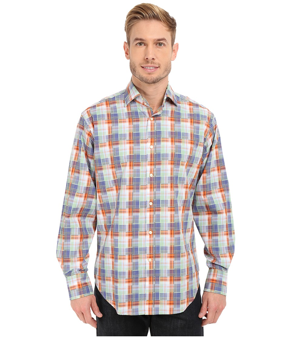 Thomas Dean amp Co. Long Sleeve Woven Twill Finish Plaid Orange Mens Long Sleeve Button Up