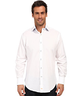 Thomas Dean & Co. - White Twill Solid Button Down Sport Shirt