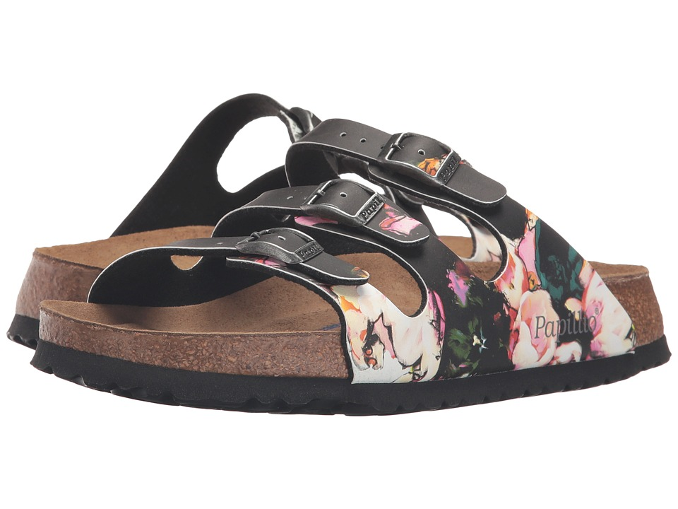 Birkenstock Florida Soft Footbed Birko-Flor (Painted Bloom Black Birko-Flor) Women