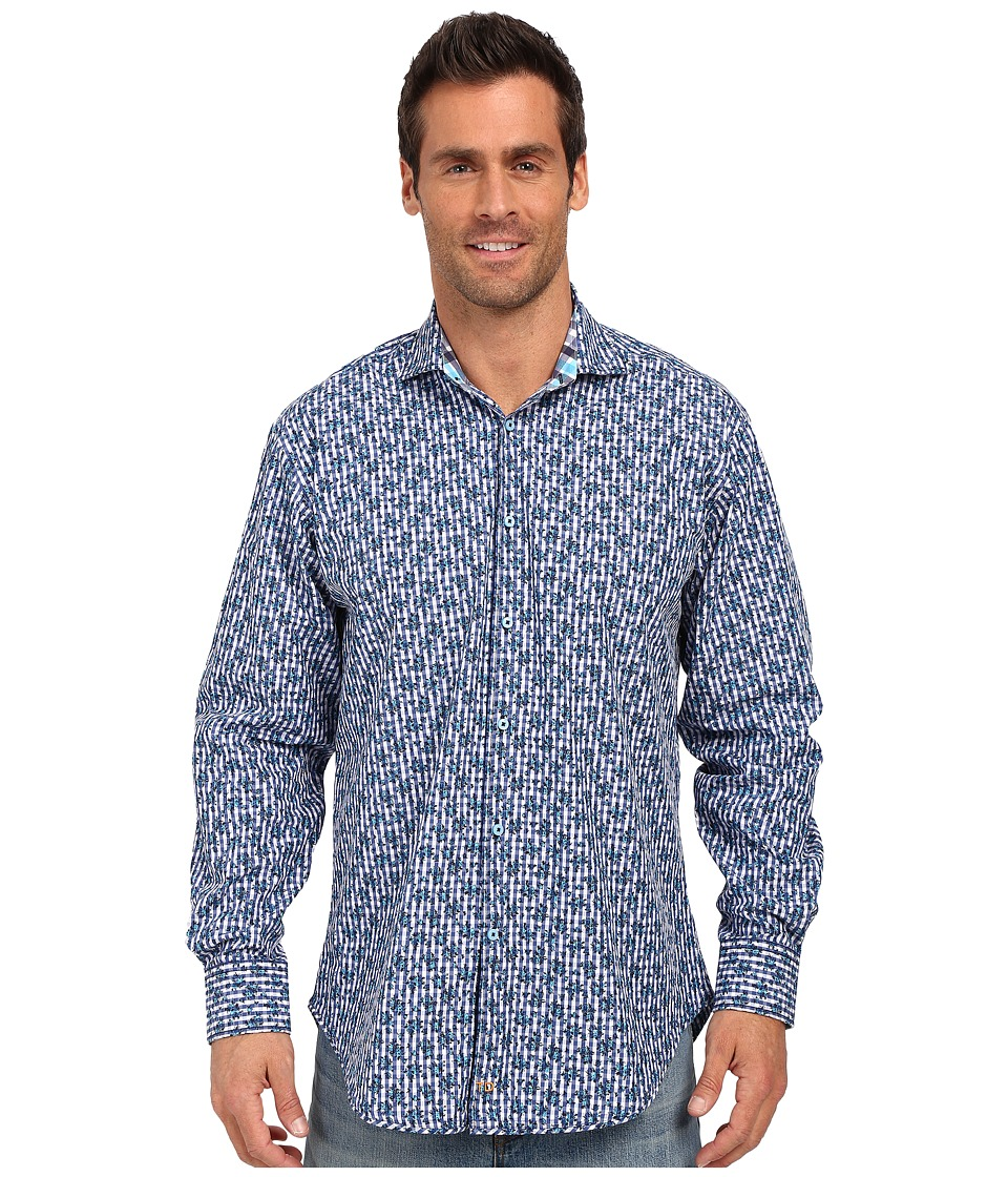 Thomas Dean amp Co. Cobalt Poplin Print Button Down Sport Shirt Cobalt Mens Long Sleeve Button Up