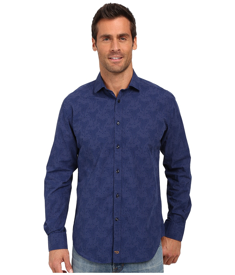 Thomas Dean amp Co. Dark Navy Gingham Tailored Fit Button Down Sport Shirt Dark Navy Mens Long Sleeve Button Up