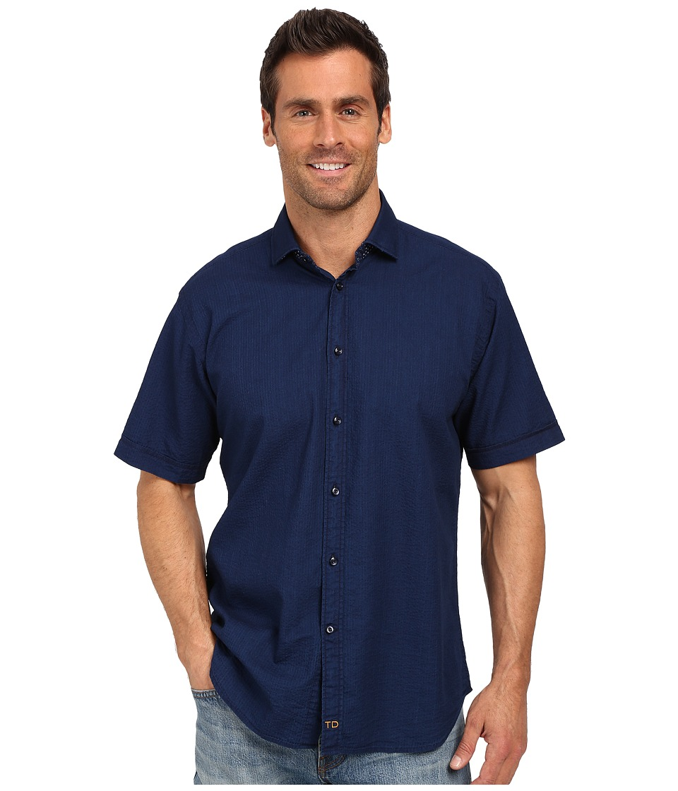 Thomas Dean amp Co. Indigo Solid Short Sleeve Button Down Sport Shirt Blue Mens Short Sleeve Button Up