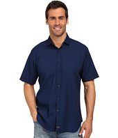 Thomas Dean & Co. - Indigo Solid Short Sleeve Button Down Sport Shirt