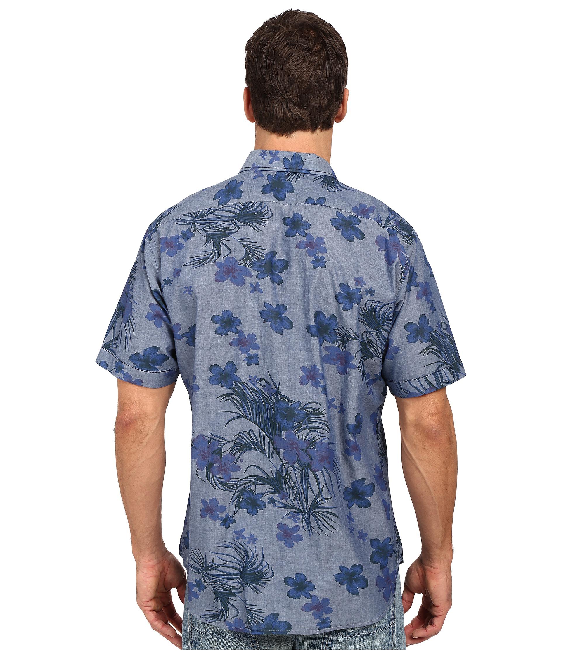 Thomas dean co blue denim print short sleeve button for Button up collared sport shirts