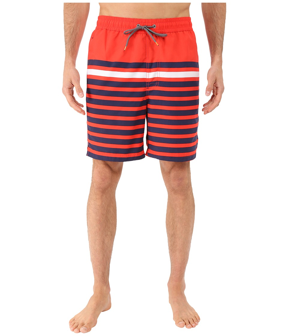Thomas Dean amp Co. Multi Stripe Board Short Red Mens Swimwear