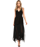 Halston Heritage - Sleeveless Deep V-Neck Crepe Dress with Flowy Skirt