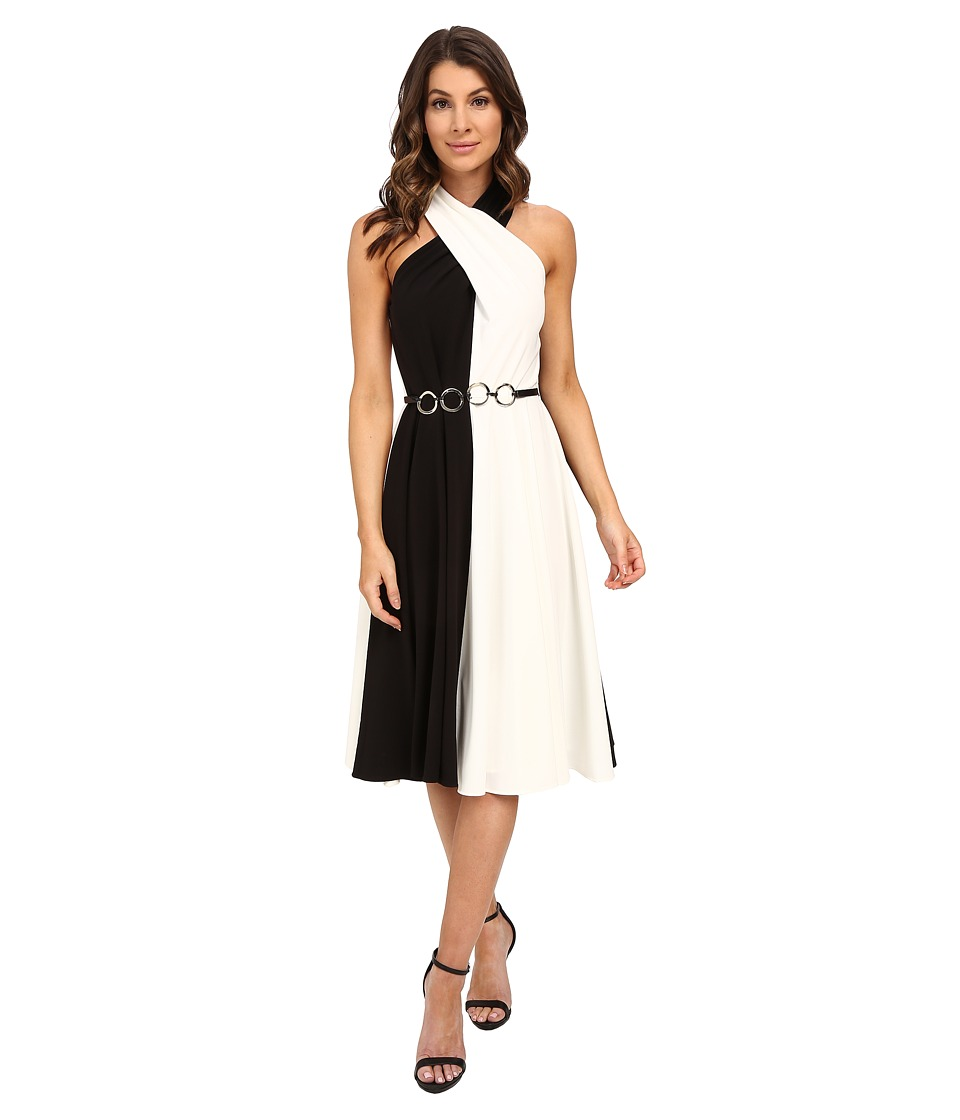 Halston Heritage Sleeveless Cross Neck Color Blocked Dress with Curved Ring Belt Black/Eggshell Womens Dress