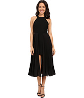 Halston Heritage - Sleeveless Round Neck Crepe Dress with Pleated Skirt Insert