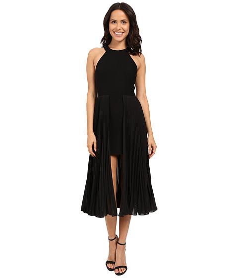Halston Heritage Sleeveless Round Neck Crepe Dress with Pleated Skirt Insert