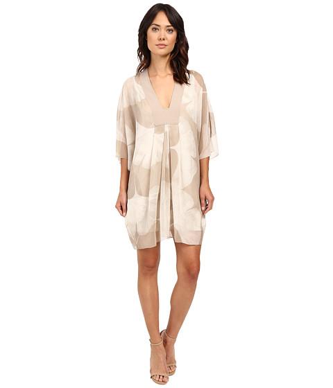 Halston Heritage Long Sleeve V-Neck Printed Mini Kaftan Dress