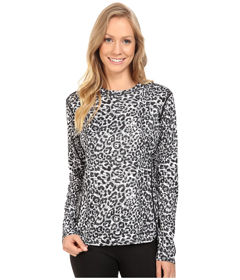 Hot Chillys Peach Print Crewneck (Snow Leopard) Women
