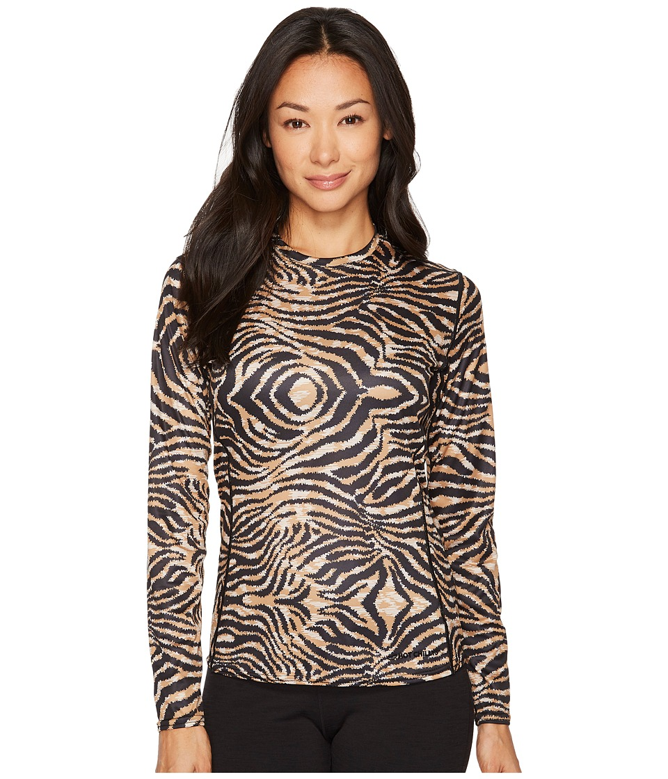 Hot Chillys Peach Print Crewneck (Tiger) Women