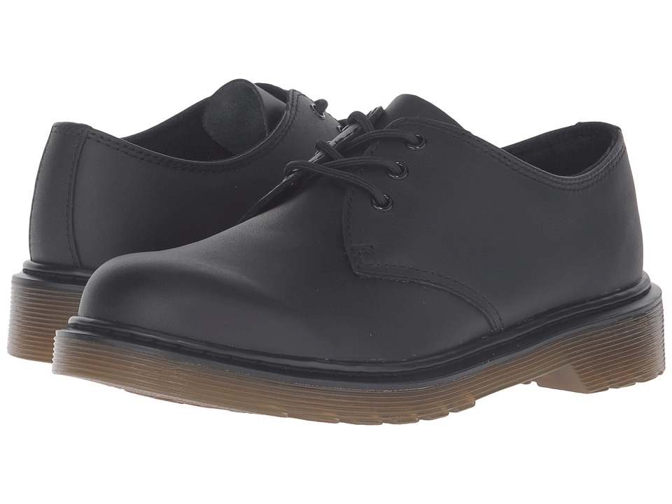 Dr. Martens Kid's Collection Everley Lace Shoe (Big Kid) (Black Leather) Boy's Shoes