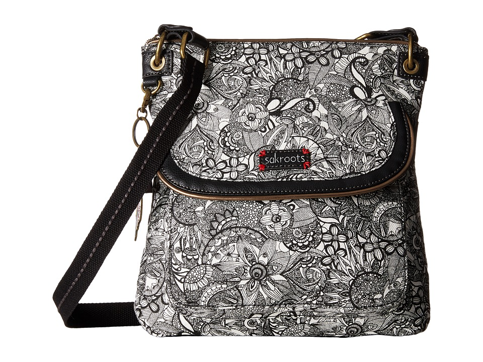Sakroots - Artist Circle Flap Crossbody (Black & White Spirit Desert) Cross Body Handbags
