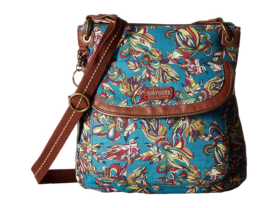 Sakroots - Artist Circle Flap Crossbody (Teal Treehouse) Cross Body Handbags