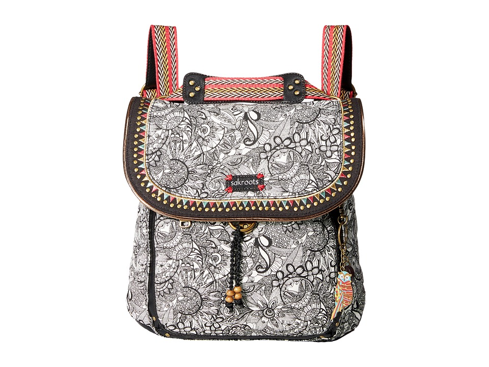 Sakroots - Artist Circle Convertible Backpack (Black & White Spirit Desert) Backpack Bags