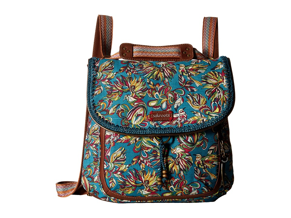 Sakroots - Artist Circle Convertible Backpack (Teal Treehouse) Backpack Bags