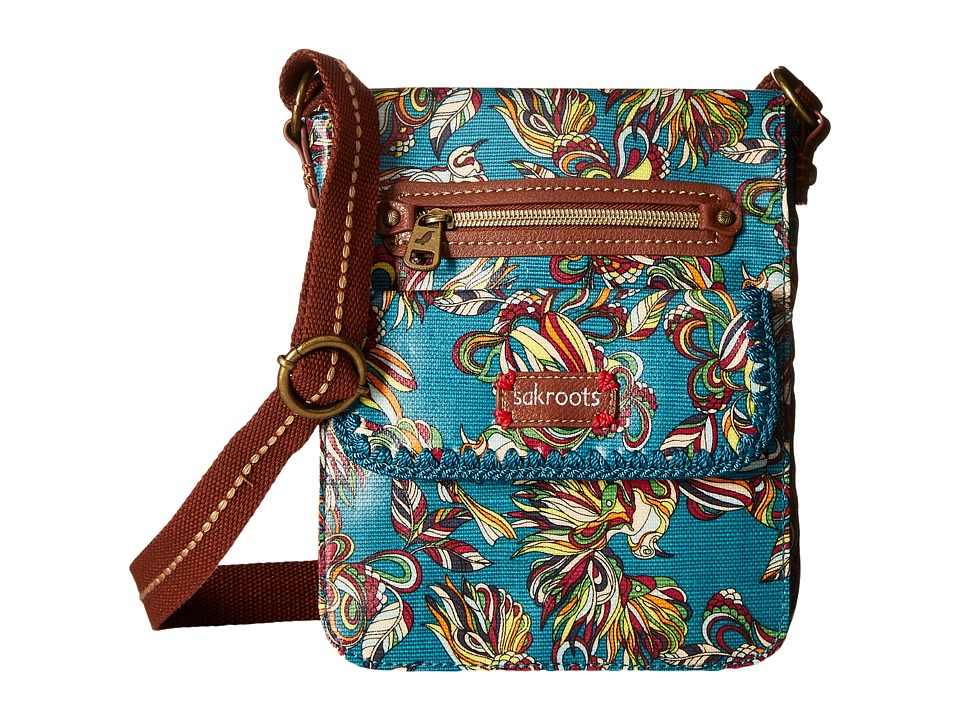 Sakroots - Artist Circle Small Flap (Teal Treehouse) Cross Body Handbags