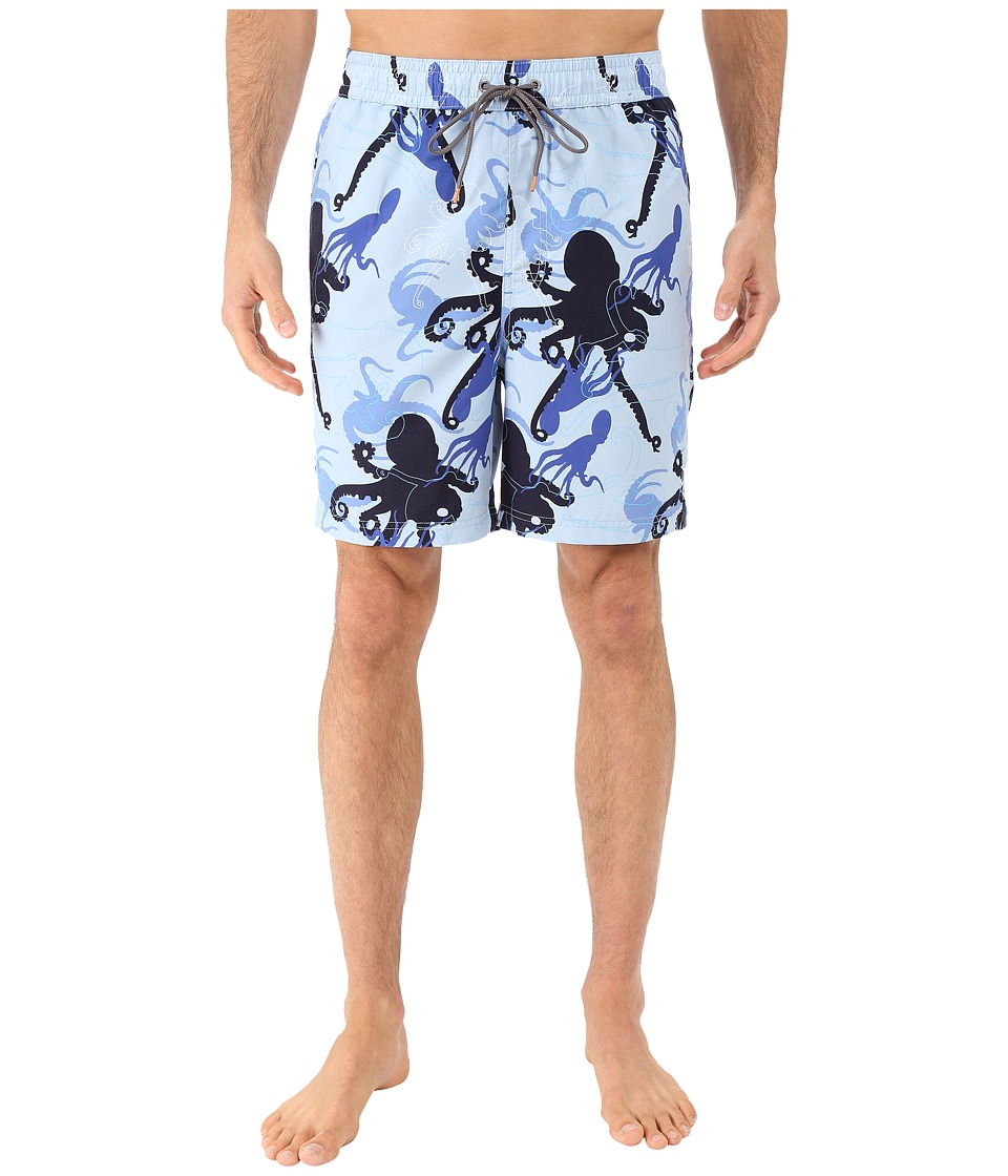 Thomas Dean amp Co. Octopus Print Board Short Light Blue Mens Swimwear
