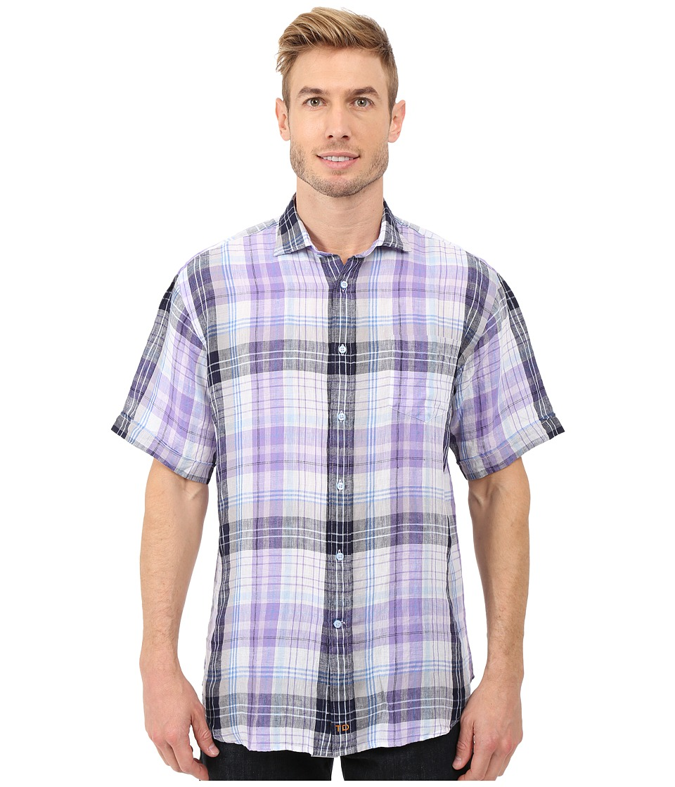 Thomas Dean amp Co. Short Sleeve Woven Linen Plaid Purple Mens Clothing