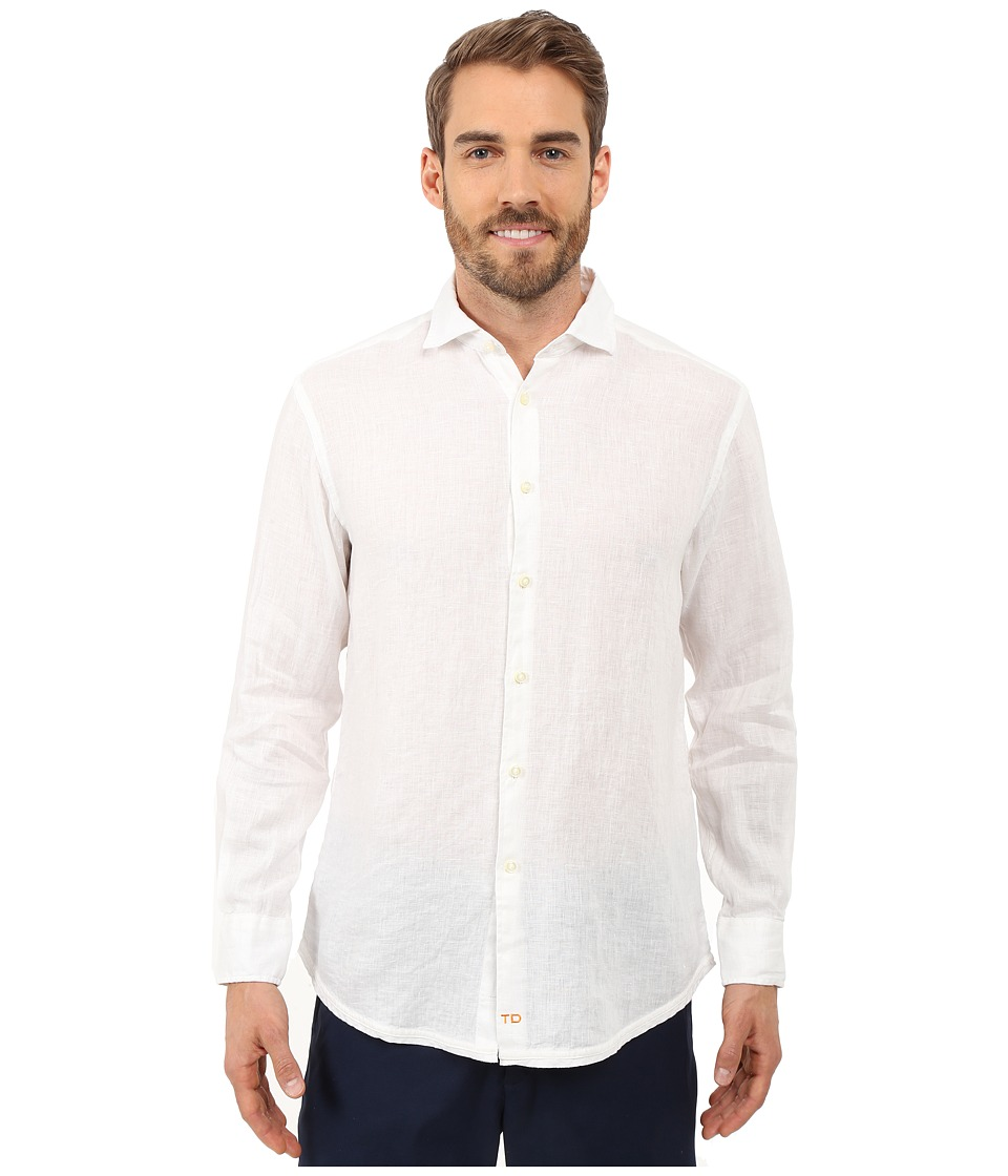 Thomas Dean amp Co. Long Sleeve Woven Linen Regular Fitted White Mens Long Sleeve Button Up