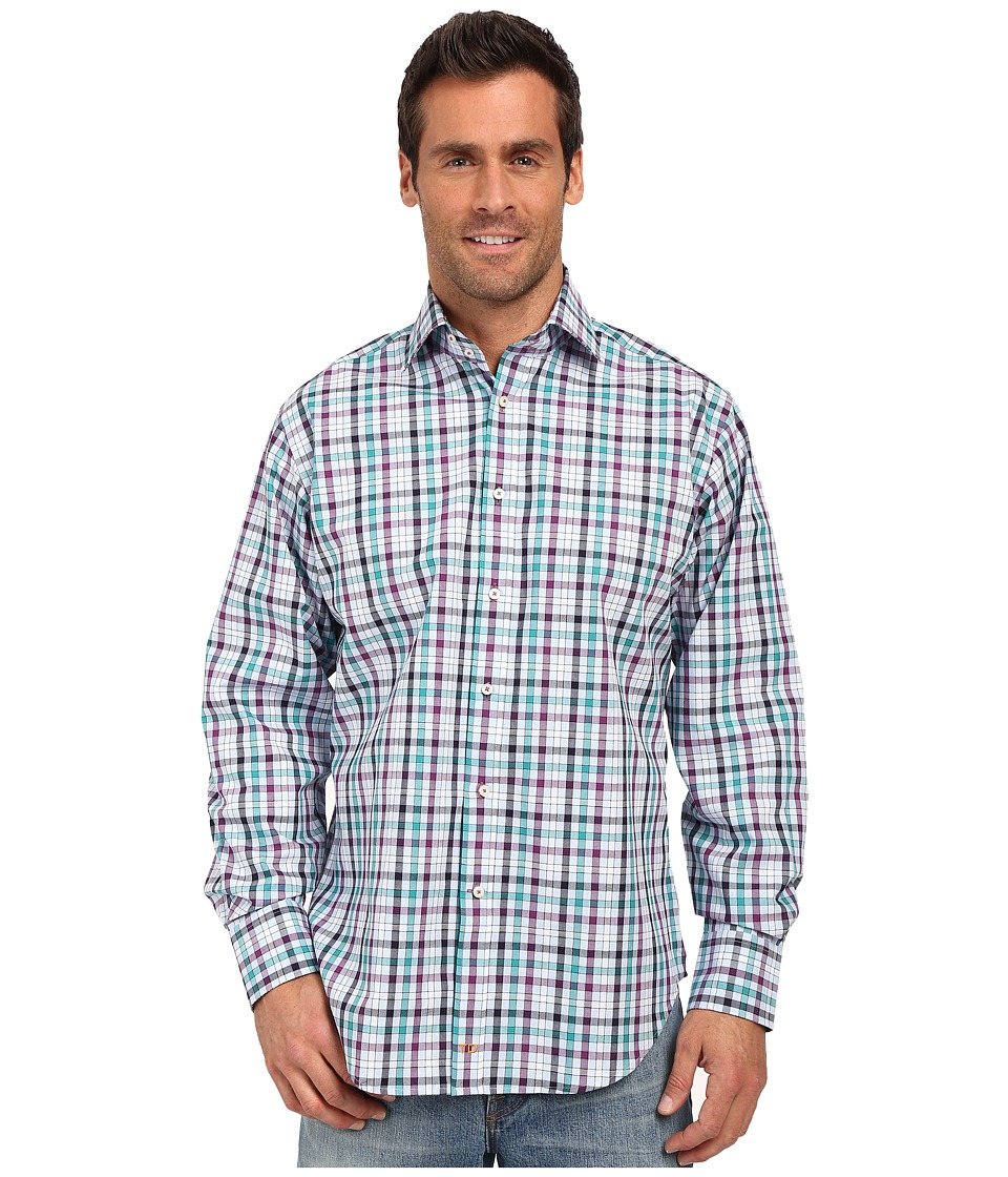 Thomas Dean amp Co. Purple Grid Check Button Down Sport Shirt Purple Mens Long Sleeve Button Up