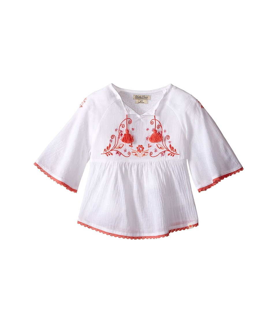 Lucky Brand Kids 3/4 Sleeve Mallory Top Toddler Bright White Girls Long Sleeve Pullover
