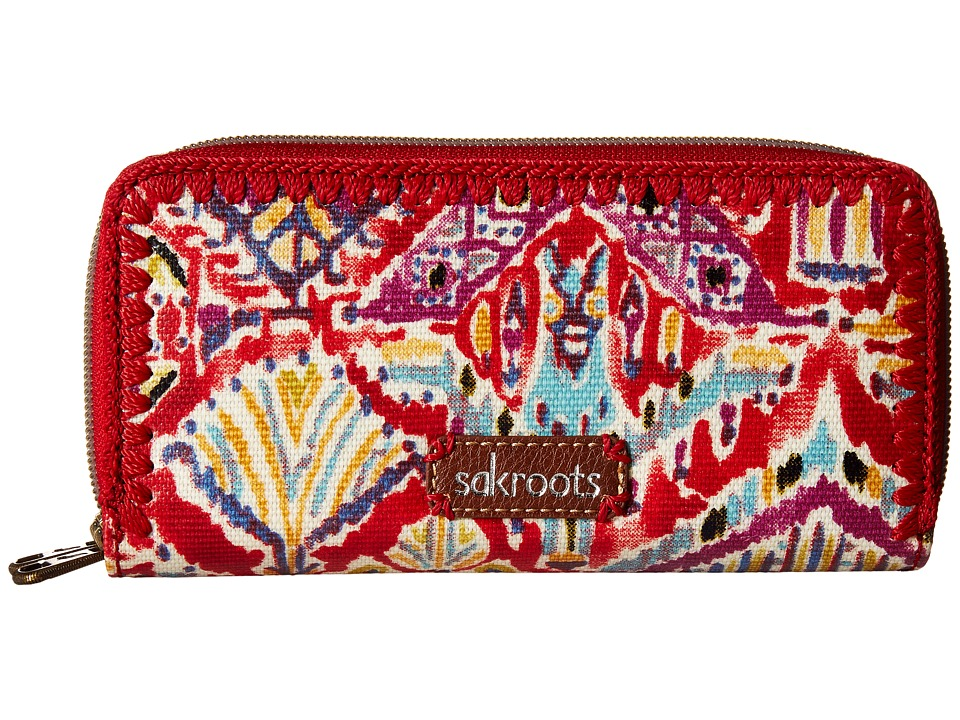 Sakroots - Artist Circle Double Zip Wallet (Sweet Red Brave Beauti) Wallet Handbags