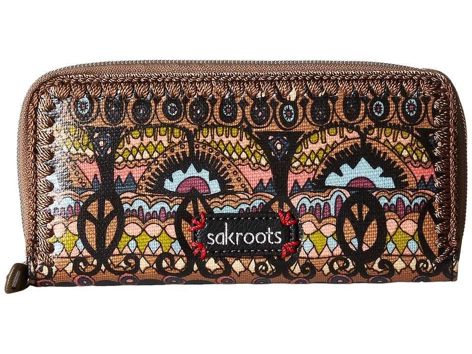 Sakroots - Artist Circle Double Zip Wallet (Taupe One World) Wallet Handbags