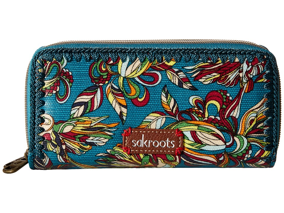 Sakroots - Artist Circle Double Zip Wallet (Teal Treehouse) Wallet Handbags