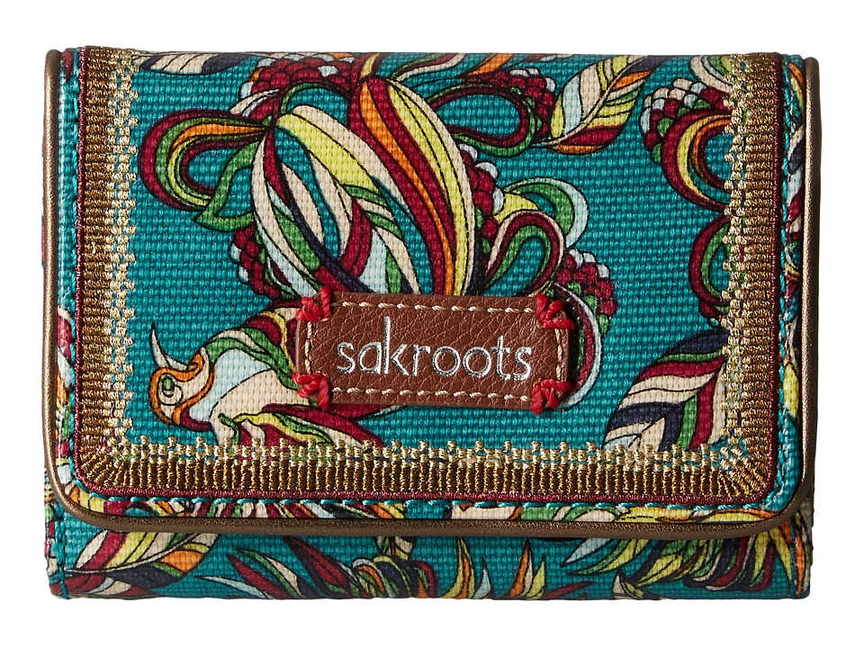 Sakroots - Artist Circle Small Trifold Wallet (Teal Treehouse) Wallet Handbags
