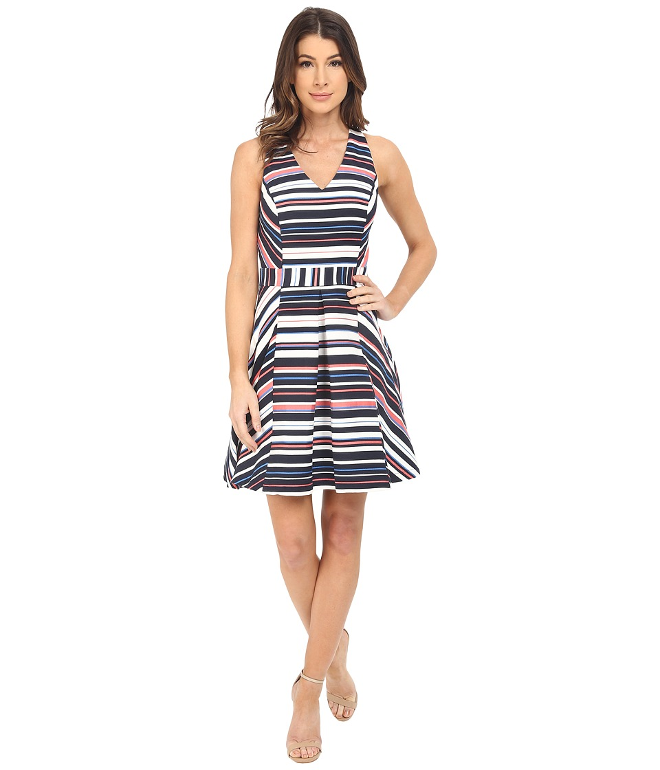 Adelyn Rae Stripe Cross Back Fit and Flare White/Navy Womens Dress