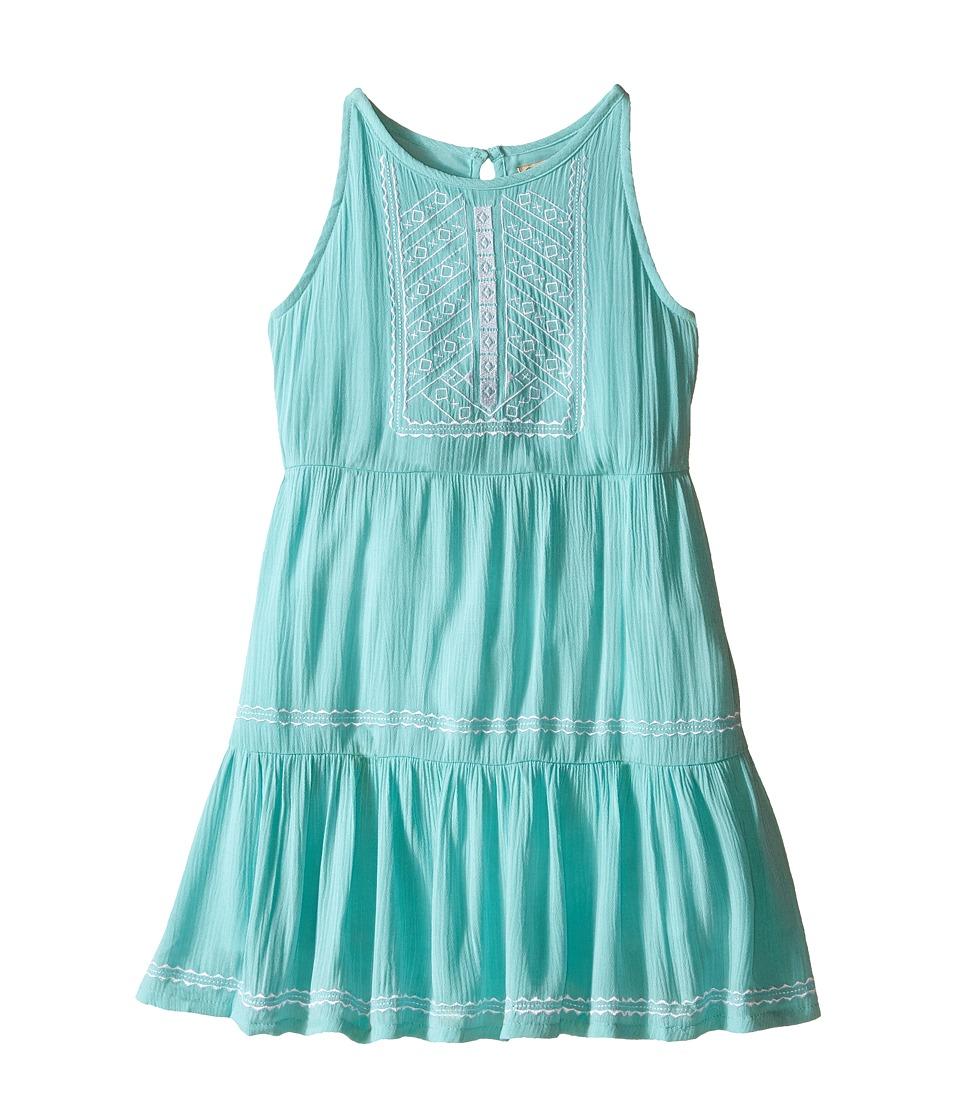 Lucky Brand Kids Abilyn Dress with Lace Little Kids Aqua Sky Girls Dress