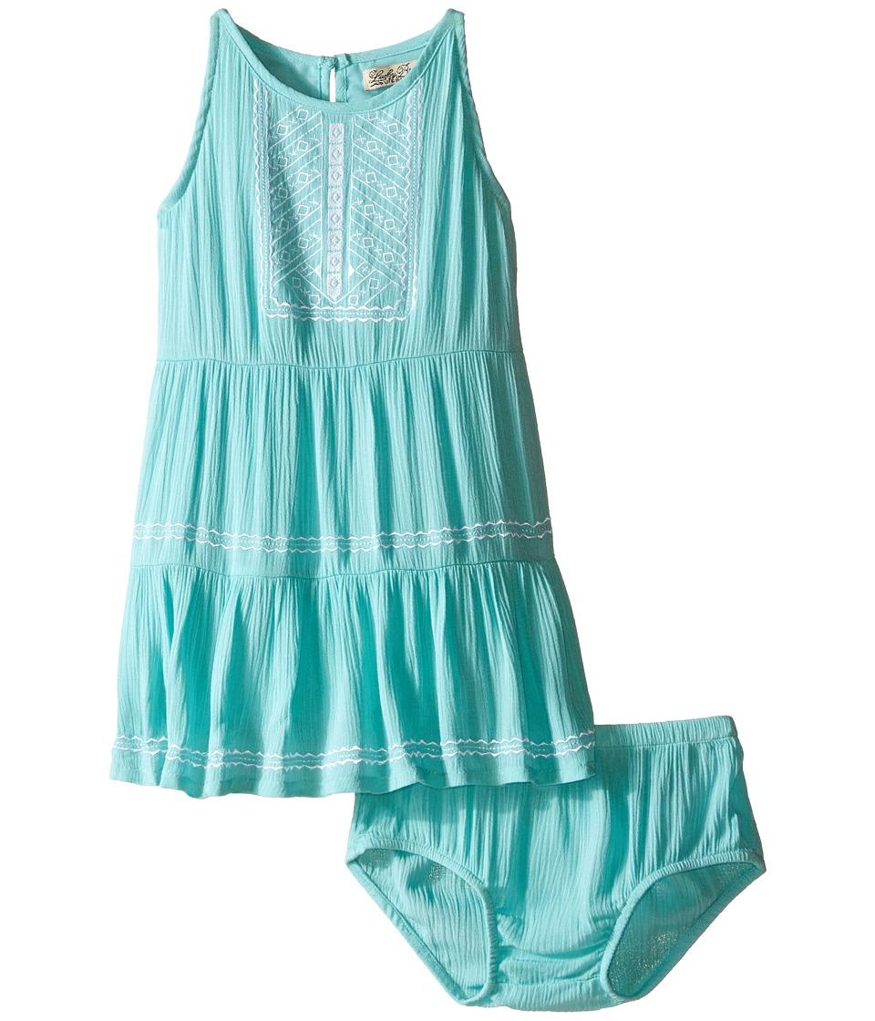 Lucky Brand Kids Abilyn Dress with Lace Toddler Aqua Sky Girls Dress