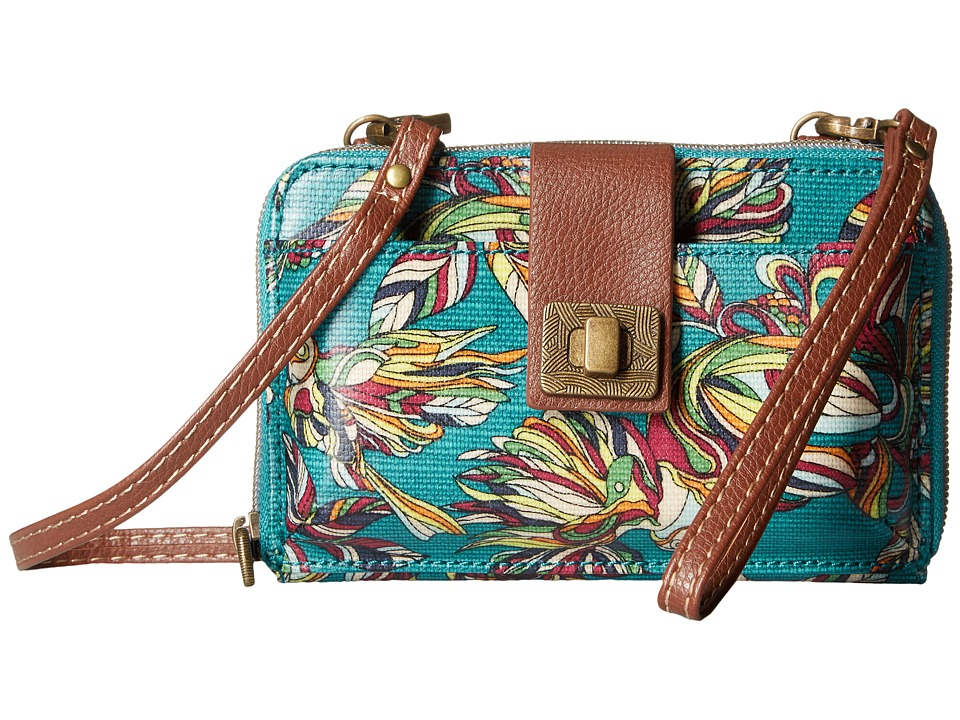 Sakroots - Artist Circle Smartphone Crossbody (Teal Treehouse) Cross Body Handbags